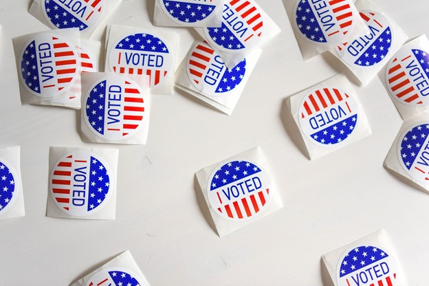"""White Surface with """"I Voted"""" Stickers"""